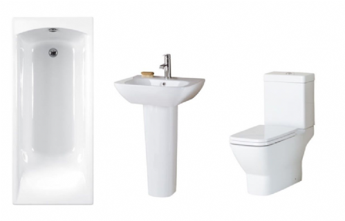 Eastbrook Wingrave Bathroom Suite Inc Carron Delta Bath & Panel - Various Sizes
